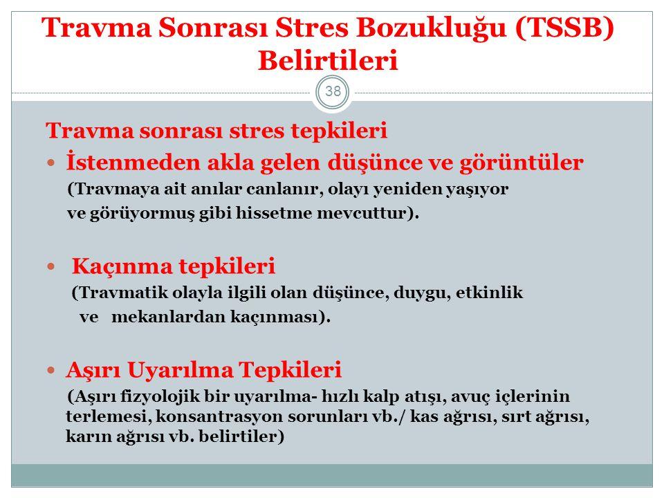 Travma Sonrası Stres Bozukluğu (TSSB) Belirtileri KRONİK TSSB Depresif ruh durumu Suçluluk duyguları Toplumdan/diğer insanlardan uzaklaşma Madde bağımlılığı tehlikesi 39