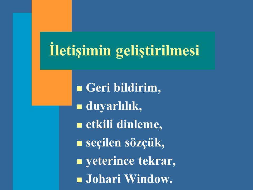 İletişimin geliştirilmesi n Geri bildirim, n duyarlılık, n etkili dinleme, n seçilen sözçük, n yeterince tekrar, n Johari Window.
