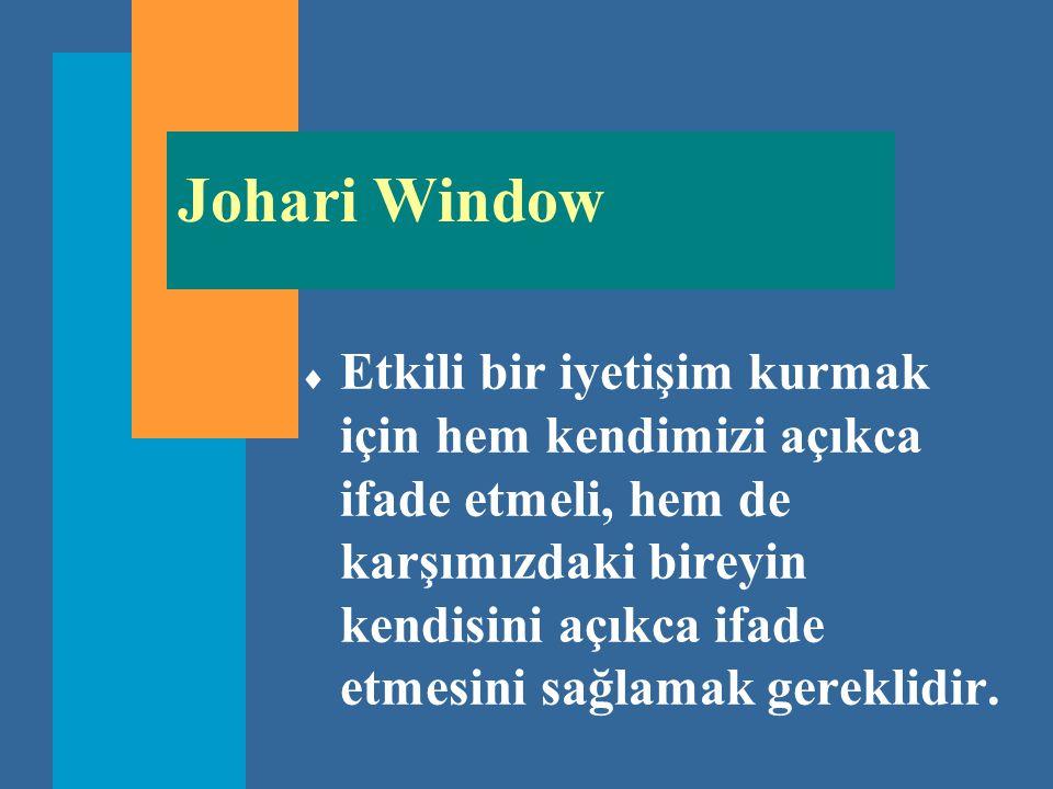 Johari Window  Etkili bir iyetişim kurmak için hem kendimizi açıkca ifade etmeli, hem de karşımızdaki bireyin kendisini açıkca ifade etmesini sağlama