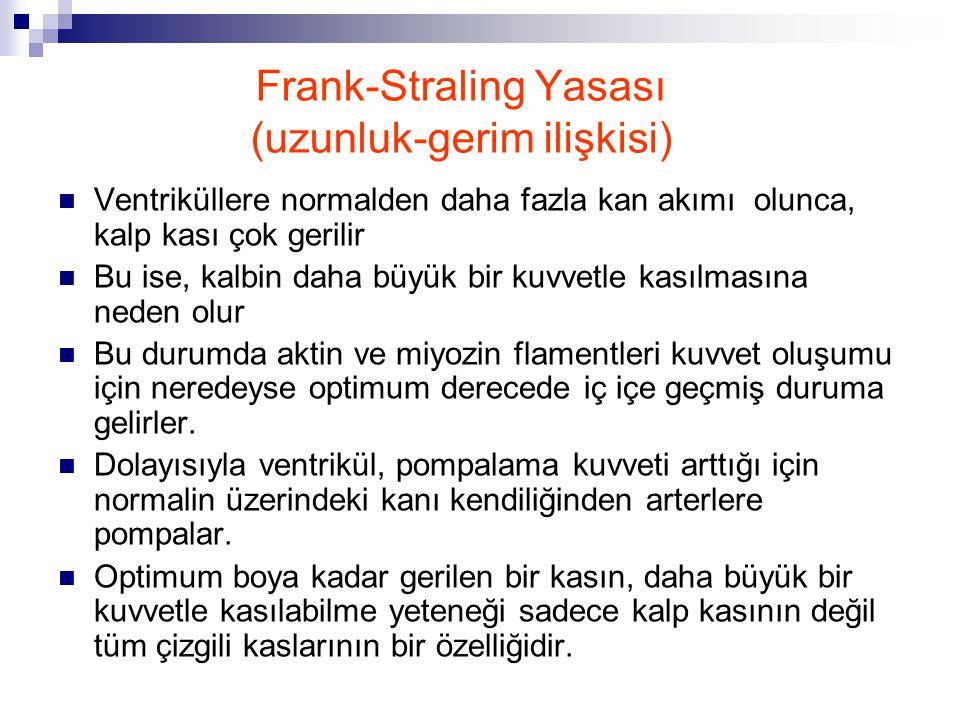 Frank-Straling Yasası (uzunluk-gerim ilişkisi) Ventriküllere normalden daha fazla kan akımı olunca, kalp kası çok gerilir Bu ise, kalbin daha büyük bi