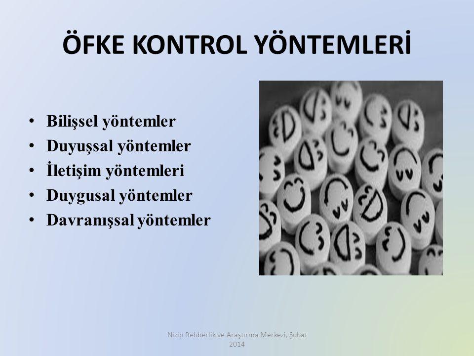 ÖFKE KONTROL YÖNTEMLERİ Bilişsel yöntemler Duyuşsal yöntemler İletişim yöntemleri Duygusal yöntemler Davranışsal yöntemler Nizip Rehberlik ve Araştırm