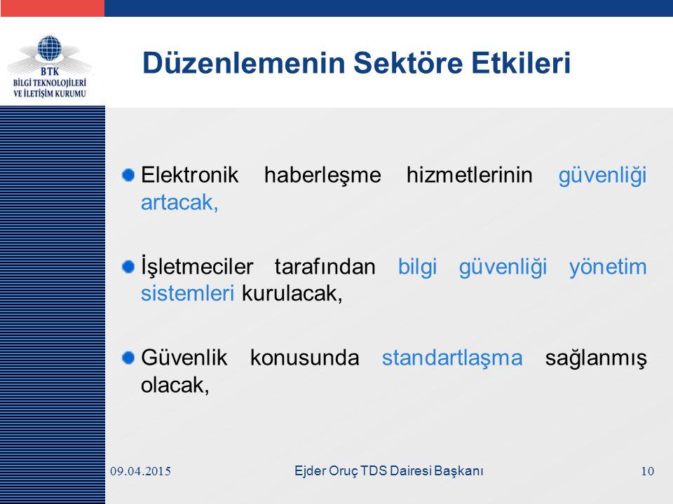 LOGO 09.04.2015 Ejder Oruç TDS Dairesi Başkanı Düzenlemenin Sektöre Etkileri Elektronik haberleşme hizmetlerinin güvenliği artacak, İşletmeciler taraf