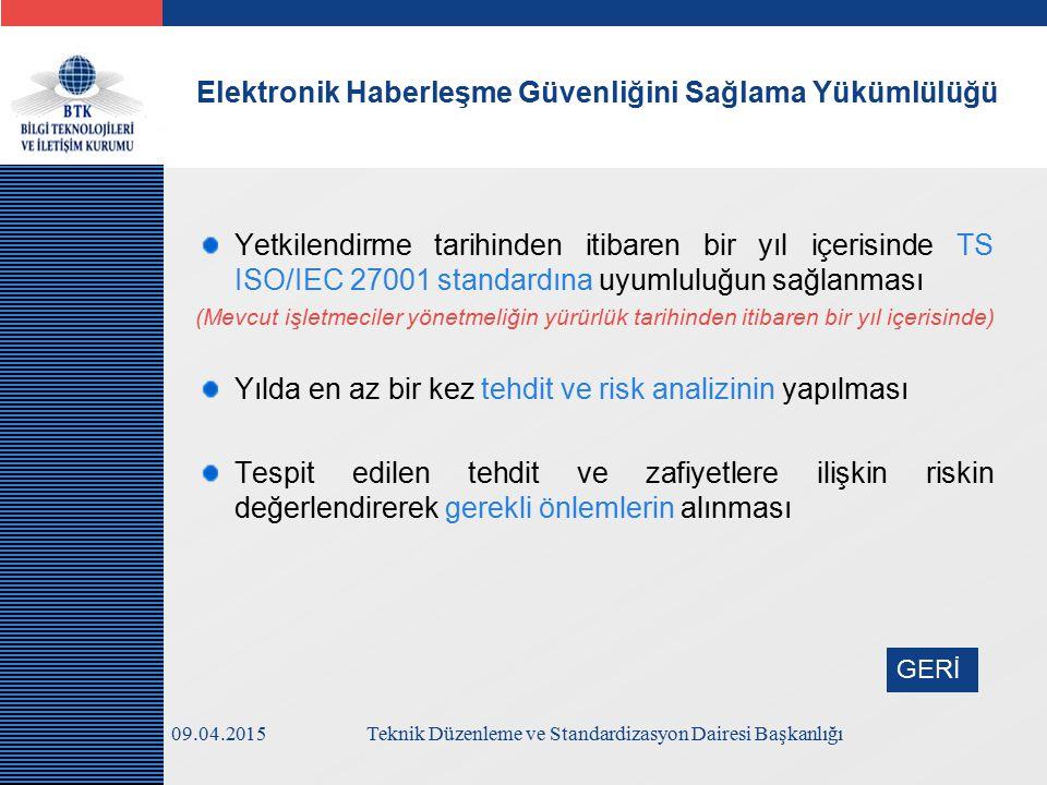 LOGO Yetkilendirme tarihinden itibaren bir yıl içerisinde TS ISO/IEC 27001 standardına uyumluluğun sağlanması (Mevcut işletmeciler yönetmeliğin yürürlük tarihinden itibaren bir yıl içerisinde) Yılda en az bir kez tehdit ve risk analizinin yapılması Tespit edilen tehdit ve zafiyetlere ilişkin riskin değerlendirerek gerekli önlemlerin alınması Elektronik Haberleşme Güvenliğini Sağlama Yükümlülüğü 09.04.2015Teknik Düzenleme ve Standardizasyon Dairesi Başkanlığı GERİ