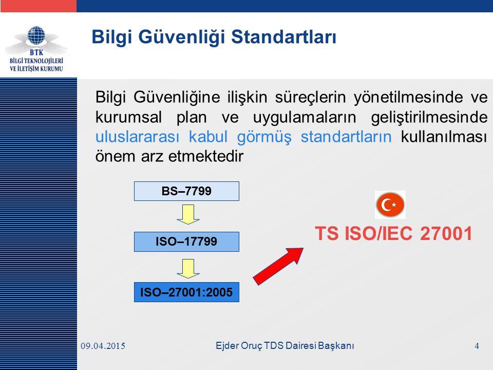LOGO Bilgi Güvenliği Standartları Bilgi Güvenliğine ilişkin süreçlerin yönetilmesinde ve kurumsal plan ve uygulamaların geliştirilmesinde uluslararası kabul görmüş standartların kullanılması önem arz etmektedir BS–7799 ISO–17799 ISO–27001:2005 TS ISO/IEC 27001 409.04.2015 Ejder Oruç TDS Dairesi Başkanı