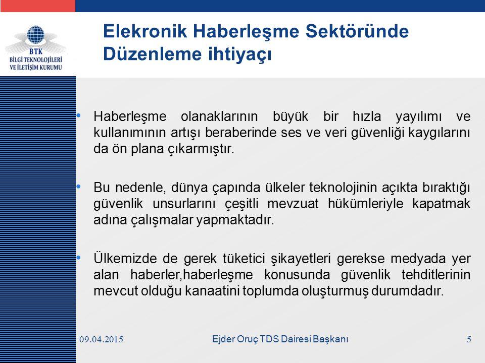 LOGO 09.04.2015 Ejder Oruç TDS Dairesi Başkanı Elekronik Haberleşme Sektöründe Düzenleme ihtiyaçı Haberleşme olanaklarının büyük bir hızla yayılımı ve