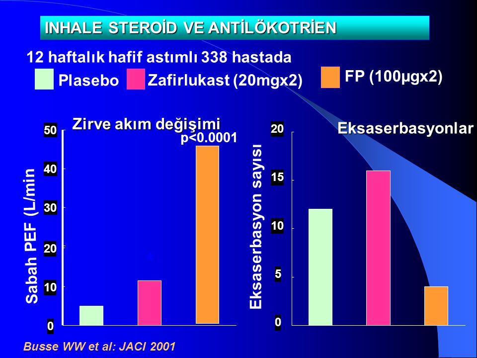 0 10 20 Sabah PEF (L/min) Plasebo Zafirlukast (20mgx2) 12 haftalık hafif astımlı 338 hastada Busse WW et al: JACI 2001 INHALE STEROİD VE ANTİLÖKOTRİEN
