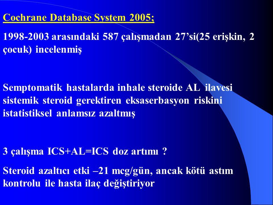 Cochrane Database System 2005; 1998-2003 arasındaki 587 çalışmadan 27'si(25 erişkin, 2 çocuk) incelenmiş Semptomatik hastalarda inhale steroide AL ila
