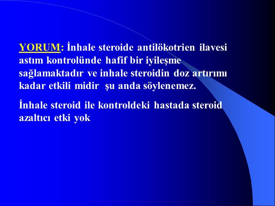 YORUM: İnhale steroide antilökotrien ilavesi astım kontrolünde hafif bir iyileşme sağlamaktadır ve inhale steroidin doz artırımı kadar etkili midir şu
