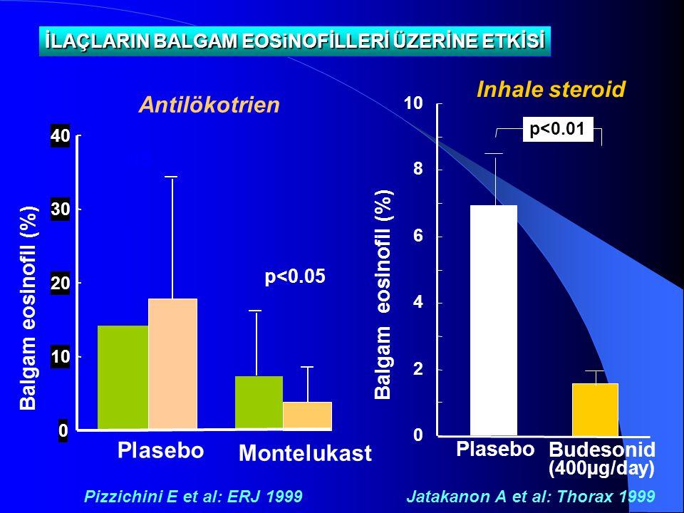 0 10 20 30 40 Balgam eosinofil (%) Plasebo Montelukast NS p<0.05 İLAÇLARIN BALGAM EOSiNOFİLLERİ ÜZERİNE ETKİSİ Pizzichini E et al: ERJ 1999 Antilökotr
