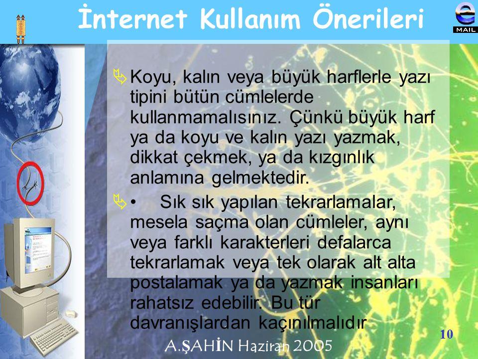 10 İnternet Kullanım Önerileri KKoyu, kalın veya büyük harflerle yazı tipini bütün cümlelerde kullanmamalısınız. Çünkü büyük harf ya da koyu ve kalı