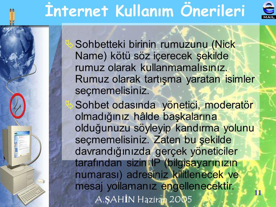 11 İnternet Kullanım Önerileri  Sohbetteki birinin rumuzunu (Nick Name) kötü söz içerecek şekilde rumuz olarak kullanmamalısınız. Rumuz olarak tartış