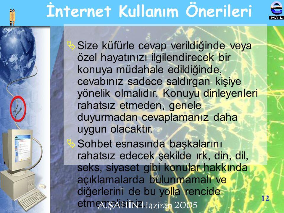 12 İnternet Kullanım Önerileri  Size küfürle cevap verildiğinde veya özel hayatınızı ilgilendirecek bir konuya müdahale edildiğinde, cevabınız sadece