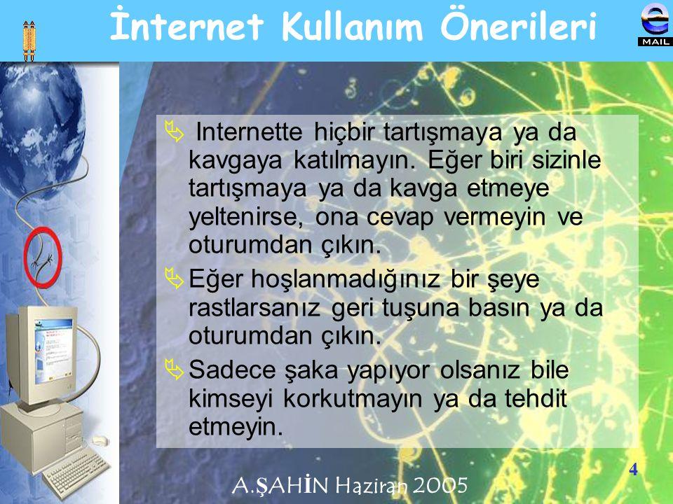 4 İnternet Kullanım Önerileri  Internette hiçbir tartışmaya ya da kavgaya katılmayın. Eğer biri sizinle tartışmaya ya da kavga etmeye yeltenirse, ona