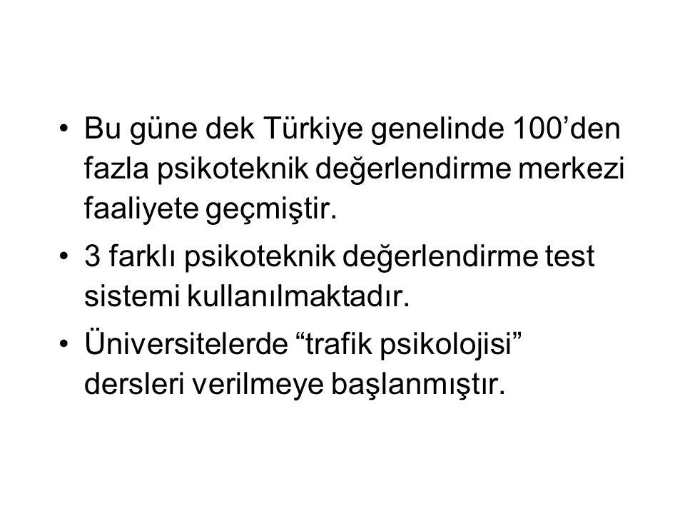 Bu güne dek Türkiye genelinde 100'den fazla psikoteknik değerlendirme merkezi faaliyete geçmiştir. 3 farklı psikoteknik değerlendirme test sistemi kul