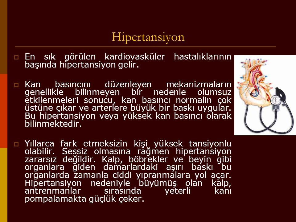 Hipertansiyon  En sık görülen kardiovasküler hastalıklarının başında hipertansiyon gelir.  Kan basıncını düzenleyen mekanizmaların genellikle bilinm