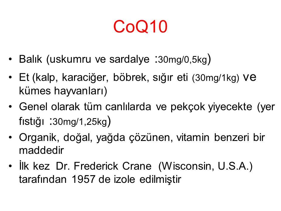 CoQ10 Balık (uskumru ve sardalye : 30mg/0,5kg ) Et (kalp, karaciğer, böbrek, sığır eti (30mg/1kg) ve kümes hayvanları) Genel olarak tüm canlılarda ve