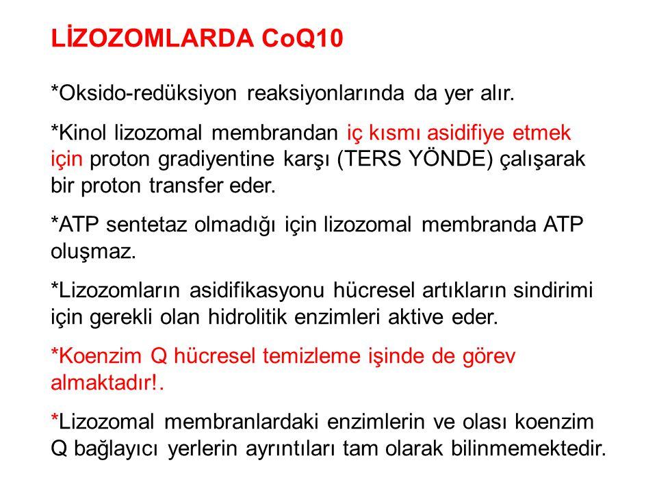 LİZOZOMLARDA CoQ10 *Oksido-redüksiyon reaksiyonlarında da yer alır. *Kinol lizozomal membrandan iç kısmı asidifiye etmek için proton gradiyentine karş