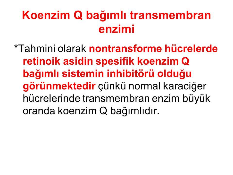 Koenzim Q bağımlı transmembran enzimi *Tahmini olarak nontransforme hücrelerde retinoik asidin spesifik koenzim Q bağımlı sistemin inhibitörü olduğu g