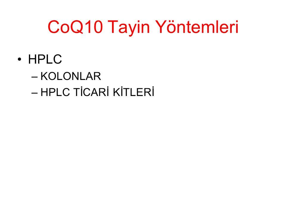 CoQ10 Tayin Yöntemleri HPLC –KOLONLAR –HPLC TİCARİ KİTLERİ
