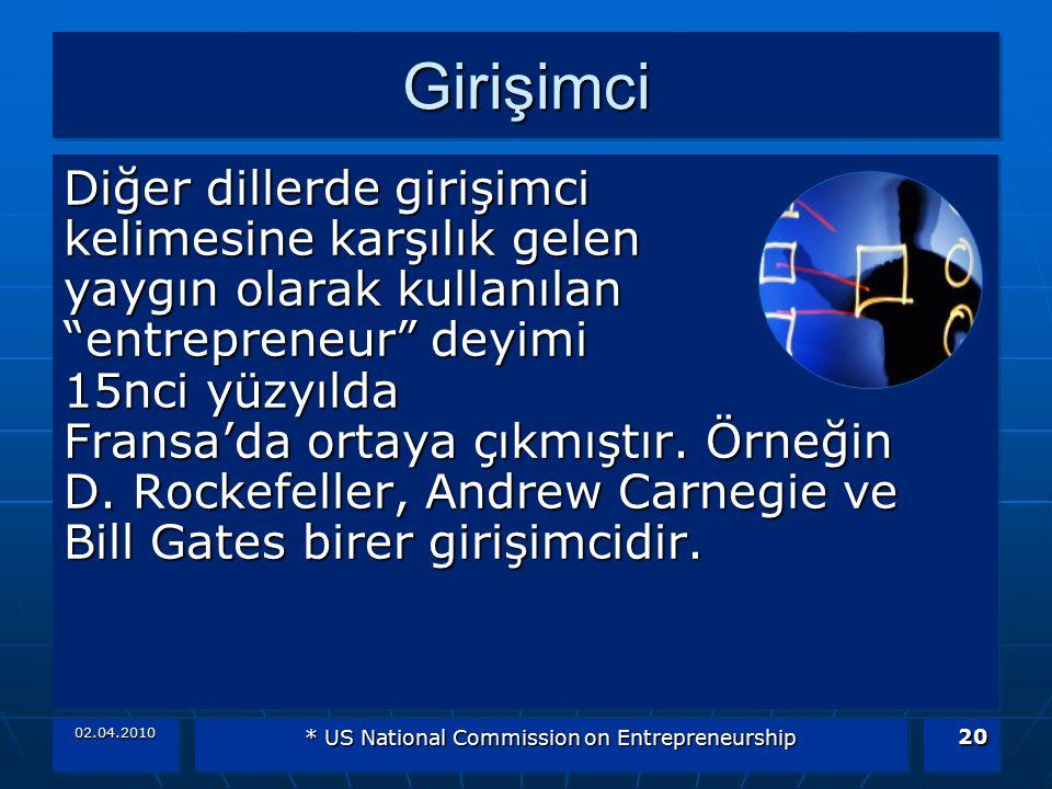 02.04.2010 * US National Commission on Entrepreneurship 20 GirişimciGirişimci Diğer dillerde girişimci kelimesine karşılık gelen yaygın olarak kullanı