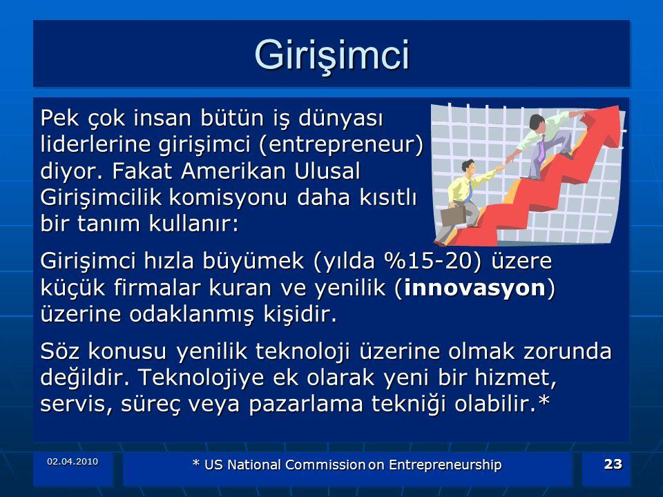 02.04.2010 * US National Commission on Entrepreneurship 23 GirişimciGirişimci Pek çok insan bütün iş dünyası liderlerine girişimci (entrepreneur) diyo