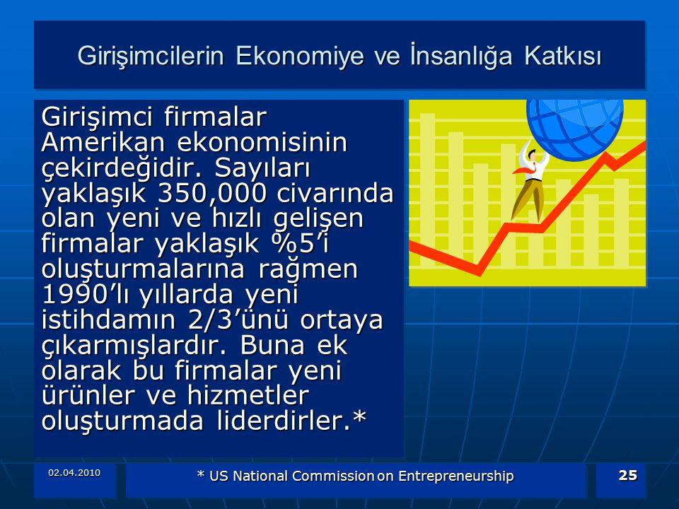 02.04.2010 * US National Commission on Entrepreneurship 25 Girişimcilerin Ekonomiye ve İnsanlığa Katkısı Girişimci firmalar Amerikan ekonomisinin çeki
