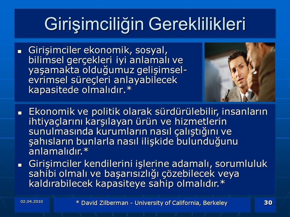 02.04.2010 * David Zilberman - University of California, Berkeley 30 Girişimciliğin Gereklilikleri Girişimciler ekonomik, sosyal, bilimsel gerçekleri