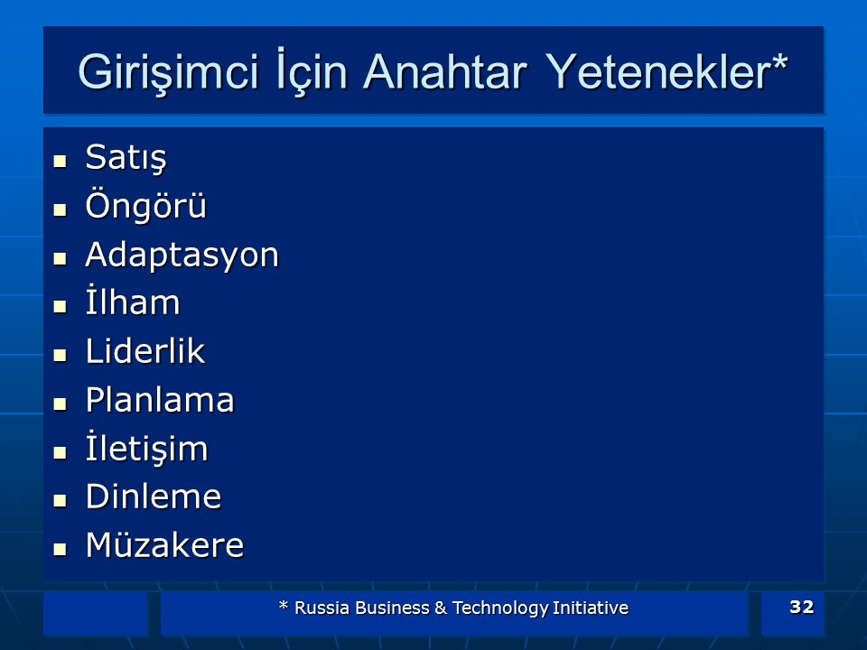 * Russia Business & Technology Initiative 32 Girişimci İçin Anahtar Yetenekler* Satış Satış Öngörü Öngörü Adaptasyon Adaptasyon İlham İlham Liderlik L