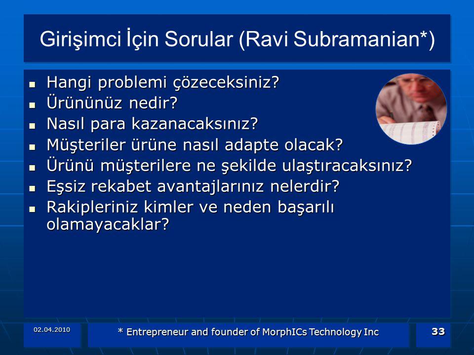 02.04.2010 * Entrepreneur and founder of MorphICs Technology Inc 33 Girişimci İçin Sorular (Ravi Subramanian*) Hangi problemi çözeceksiniz? Hangi prob