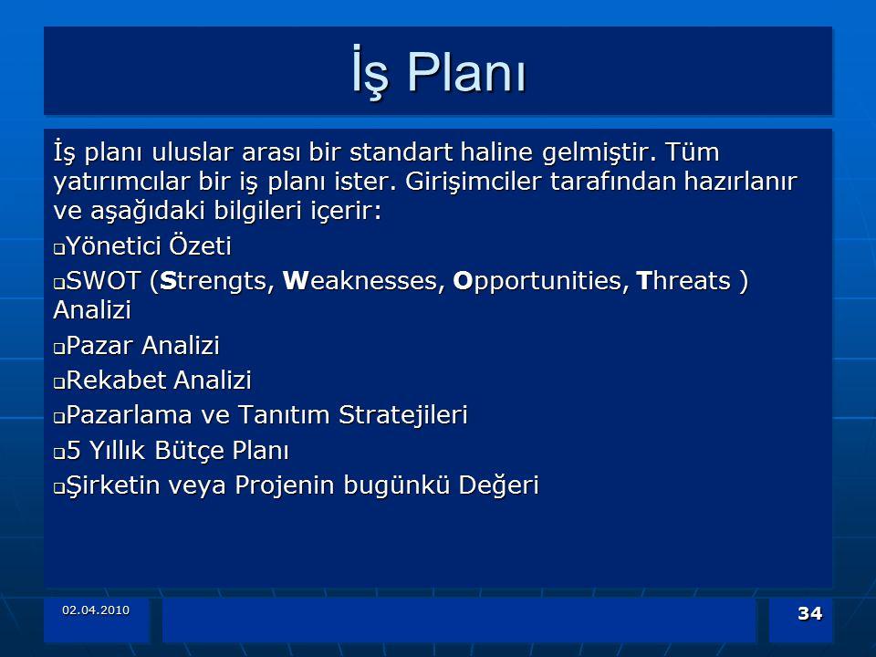 02.04.2010 34 İş Planı İş planı uluslar arası bir standart haline gelmiştir. Tüm yatırımcılar bir iş planı ister. Girişimciler tarafından hazırlanır v