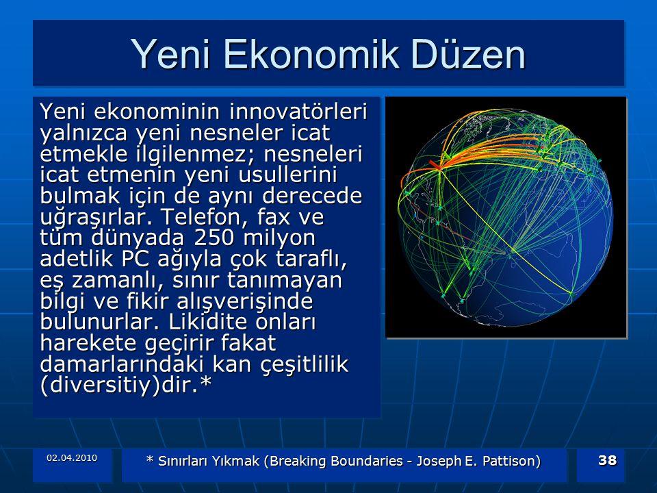 02.04.2010 * Sınırları Yıkmak (Breaking Boundaries - Joseph E. Pattison) 38 Yeni Ekonomik Düzen Yeni ekonominin innovatörleri yalnızca yeni nesneler i