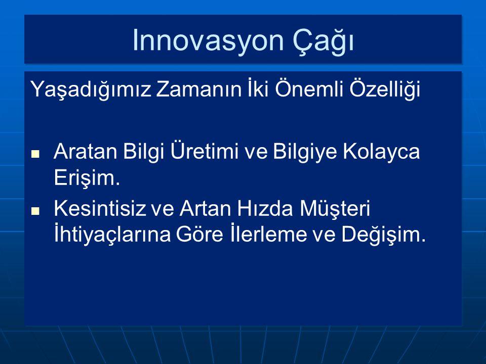Innovasyon Çağı Yaşadığımız Zamanın İki Önemli Özelliği Aratan Bilgi Üretimi ve Bilgiye Kolayca Erişim. Kesintisiz ve Artan Hızda Müşteri İhtiyaçların
