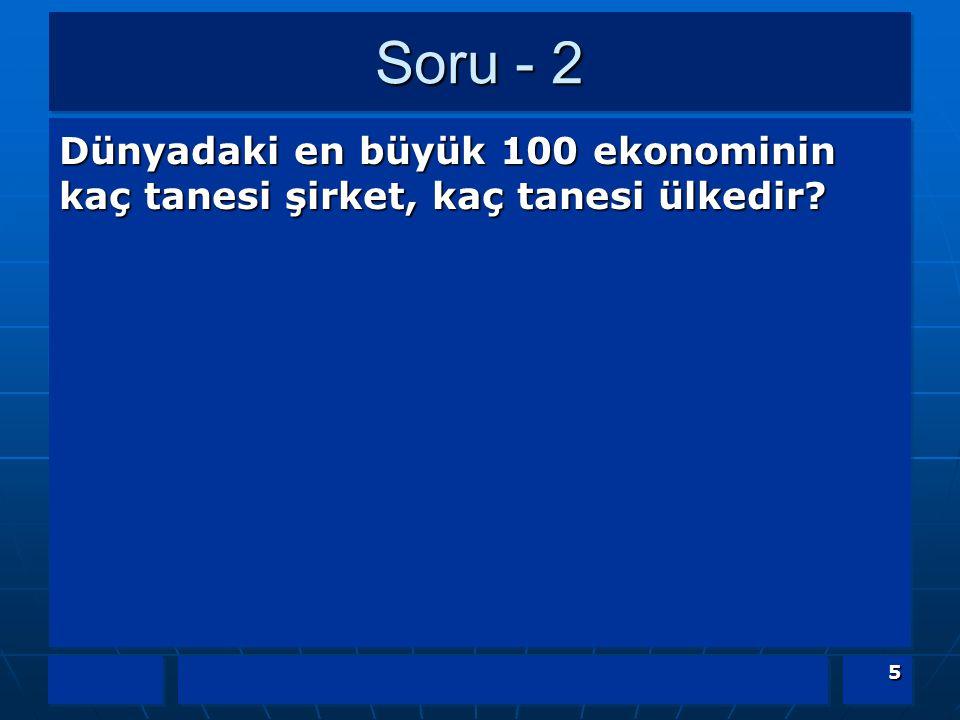 Soru - 2 Dünyadaki en büyük 100 ekonominin kaç tanesi şirket, kaç tanesi ülkedir?