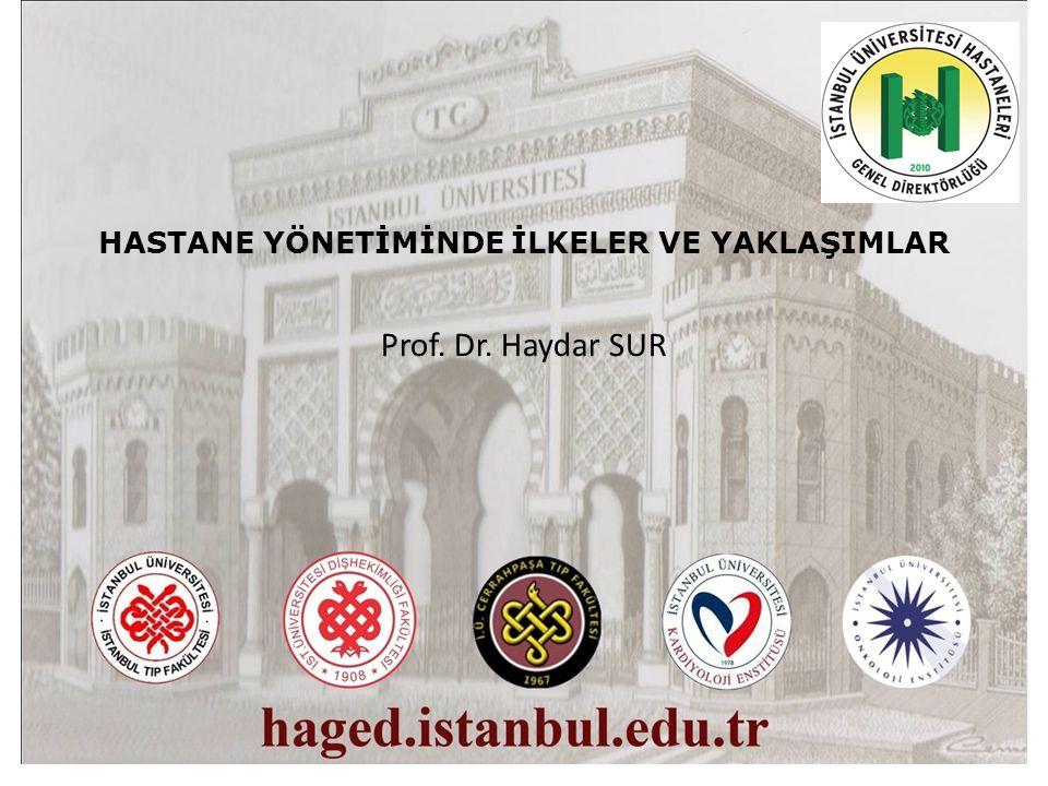 HASTANE YÖNETİMİNDE İLKELER VE YAKLAŞIMLAR Prof. Dr. Haydar SUR