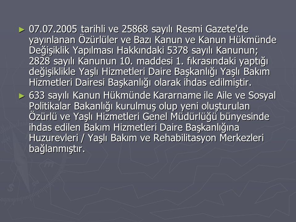 ► 07.07.2005 tarihli ve 25868 sayılı Resmi Gazete'de yayınlanan Özürlüler ve Bazı Kanun ve Kanun Hükmünde Değişiklik Yapılması Hakkındaki 5378 sayılı