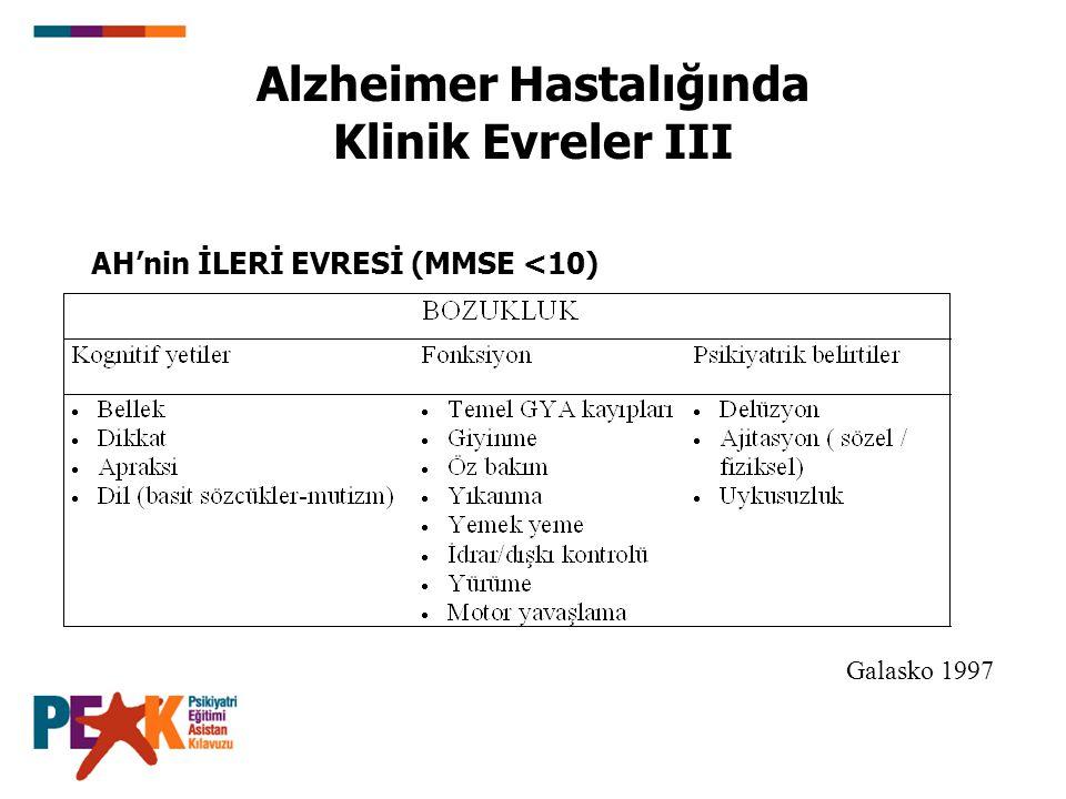 AH'nin İLERİ EVRESİ (MMSE <10) Galasko 1997 Alzheimer Hastalığında Klinik Evreler III