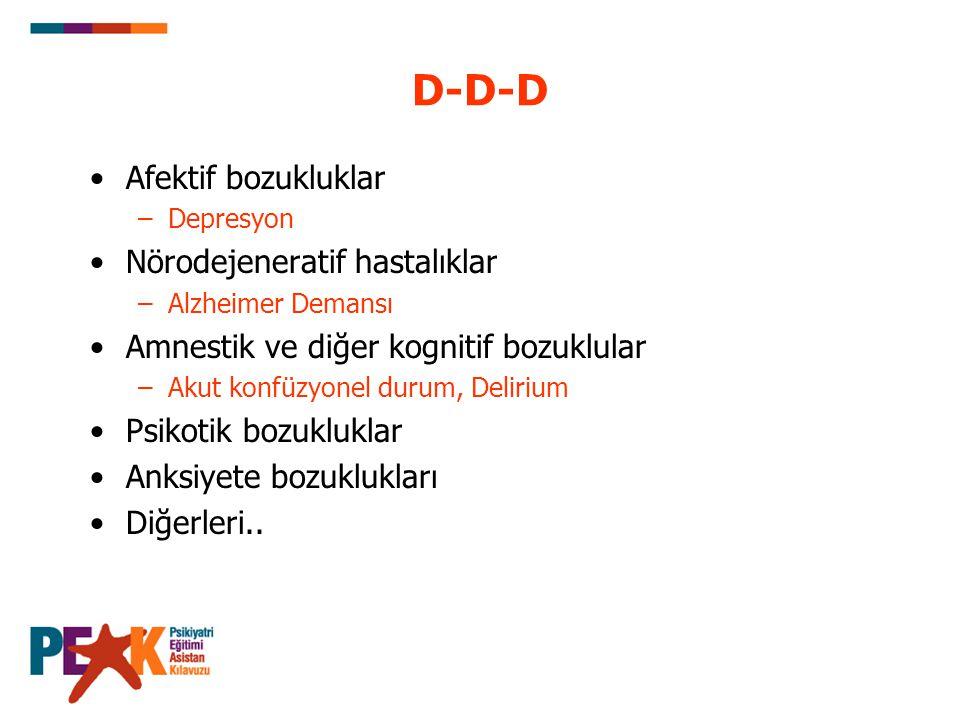 D-D-D Afektif bozukluklar –Depresyon Nörodejeneratif hastalıklar –Alzheimer Demansı Amnestik ve diğer kognitif bozuklular –Akut konfüzyonel durum, Del