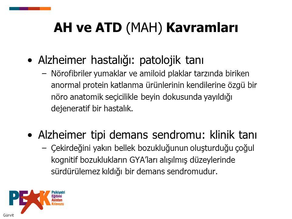 AH ve ATD (MAH) Kavramları Alzheimer hastalığı: patolojik tanı –Nörofibriler yumaklar ve amiloid plaklar tarzında biriken anormal protein katlanma ürü
