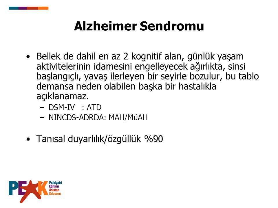Alzheimer Sendromu Bellek de dahil en az 2 kognitif alan, günlük yaşam aktivitelerinin idamesini engelleyecek ağırlıkta, sinsi başlangıçlı, yavaş iler