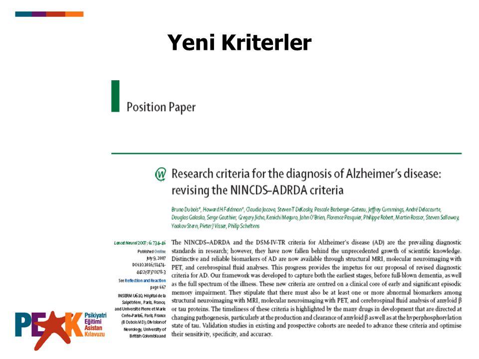 Başlıca Demans Alt Tipleri AH %60-70 Diğer %10-25 VaD %15-20 Lewy CD Parkinson HD FTD Diğer Alzheimer hastalığı (AH) en sık demans nedenidir (Evans, JAMA, 1989; 262: 2551-2556)