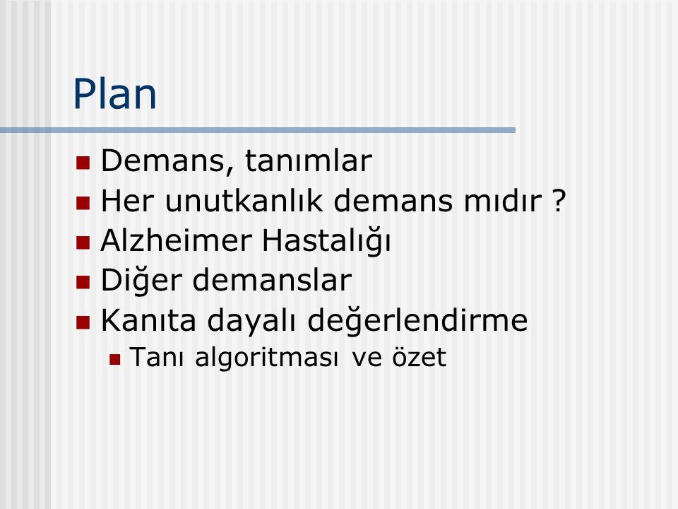 Plan Demans, tanımlar Her unutkanlık demans mıdır ? Alzheimer Hastalığı Diğer demanslar Kanıta dayalı değerlendirme Tanı algoritması ve özet