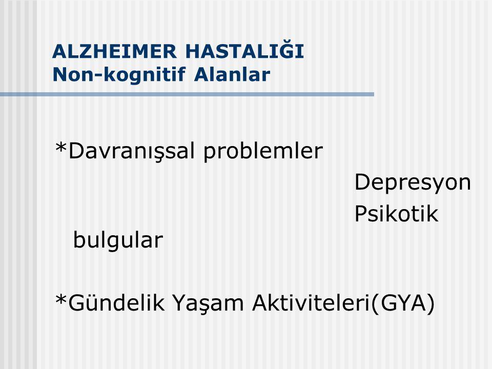 ALZHEIMER HASTALIĞI Non-kognitif Alanlar *Davranışsal problemler Depresyon Psikotik bulgular *Gündelik Yaşam Aktiviteleri(GYA)