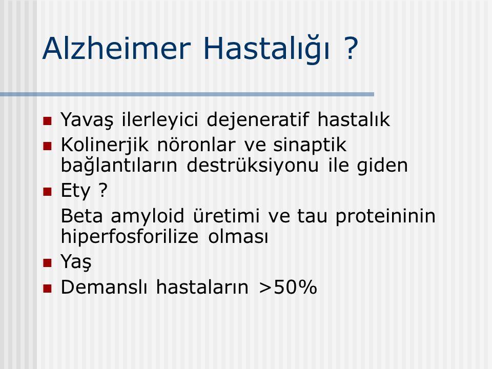 Alzheimer Hastalığı ? Yavaş ilerleyici dejeneratif hastalık Kolinerjik nöronlar ve sinaptik bağlantıların destrüksiyonu ile giden Ety ? Beta amyloid ü