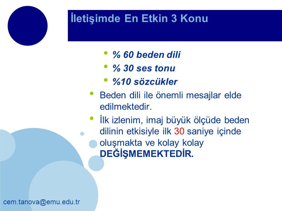İletişimde En Etkin 3 Konu % 60 beden dili % 30 ses tonu %10 sözcükler Beden dili ile önemli mesajlar elde edilmektedir. İlk izlenim, imaj büyük ölçüd