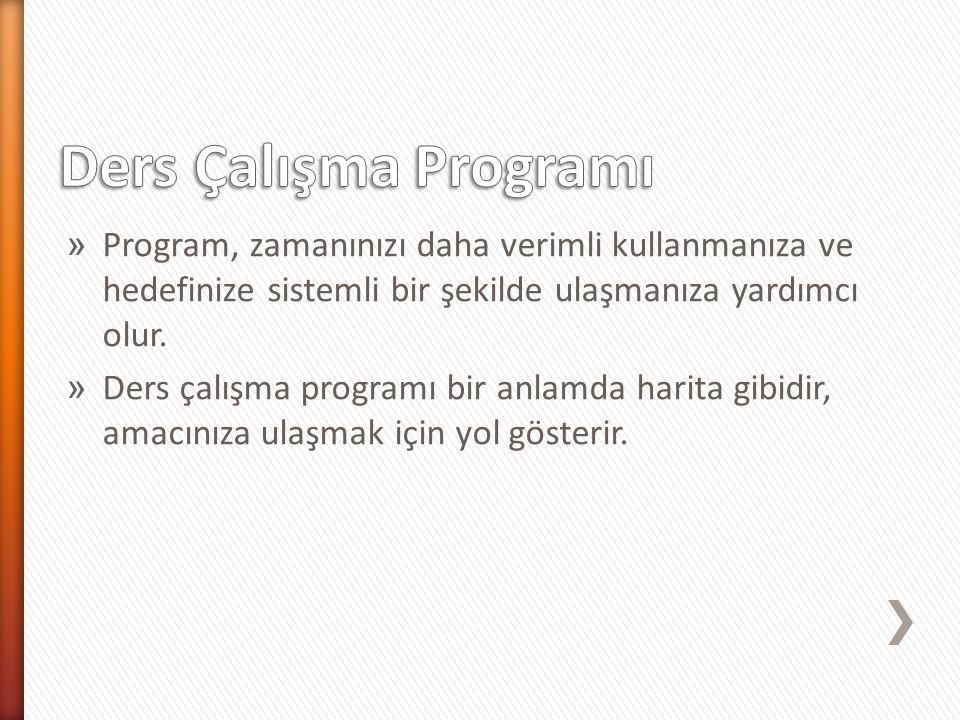 » Program, zamanınızı daha verimli kullanmanıza ve hedefinize sistemli bir şekilde ulaşmanıza yardımcı olur. » Ders çalışma programı bir anlamda harit