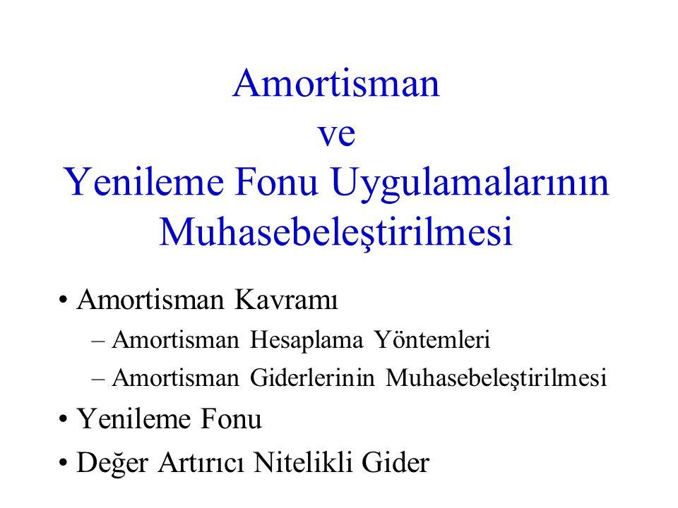 Amortisman ve Yenileme Fonu Uygulamalarının Muhasebeleştirilmesi Amortisman Kavramı – Amortisman Hesaplama Yöntemleri – Amortisman Giderlerinin Muhase