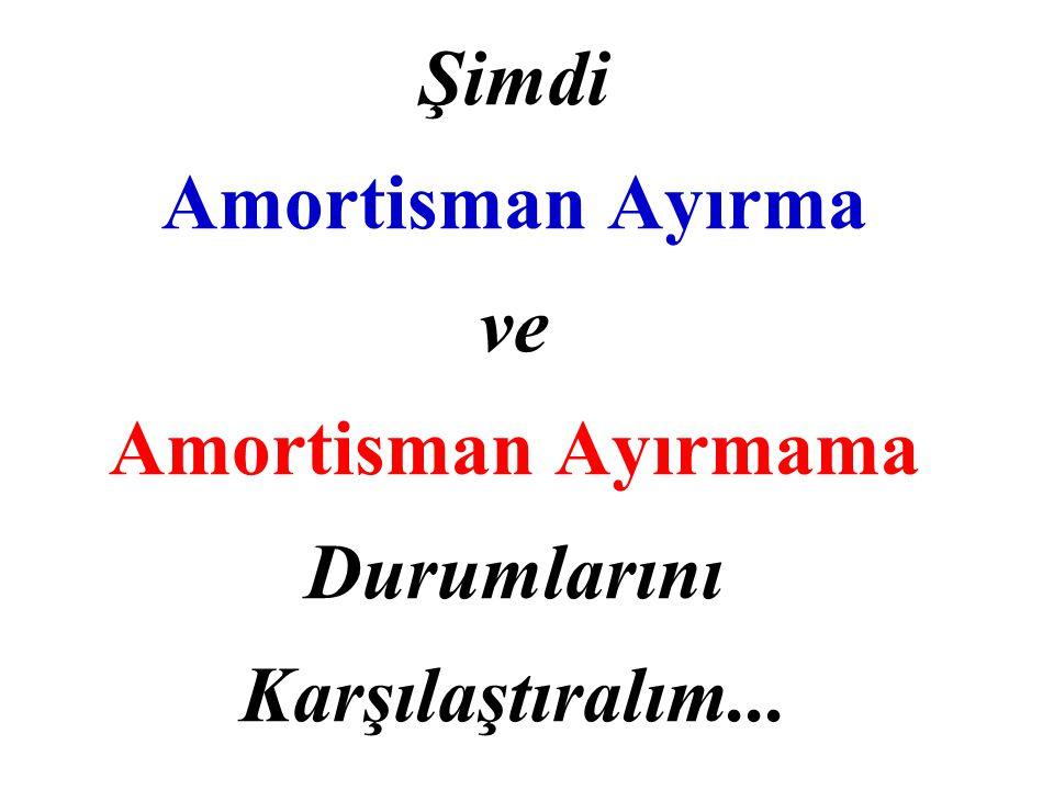 Şimdi Amortisman Ayırma ve Amortisman Ayırmama Durumlarını Karşılaştıralım...