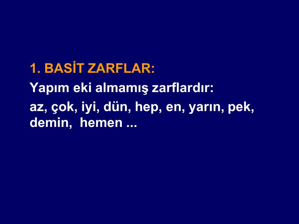 2.TÜREMİŞ ZARFLAR: Yapım eki almış zarflardır.