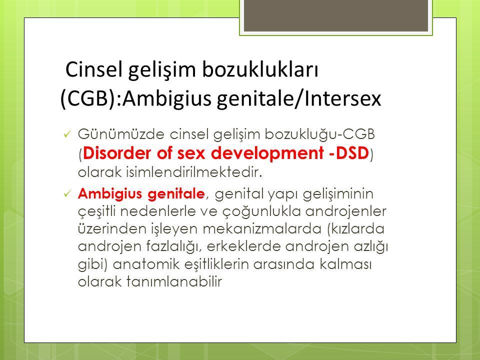 Cinsel gelişim bozuklukları (CGB):Ambigius genitale/Intersex Günümüzde cinsel gelişim bozukluğu-CGB ( Disorder of sex development -DSD ) olarak isimlendirilmektedir.