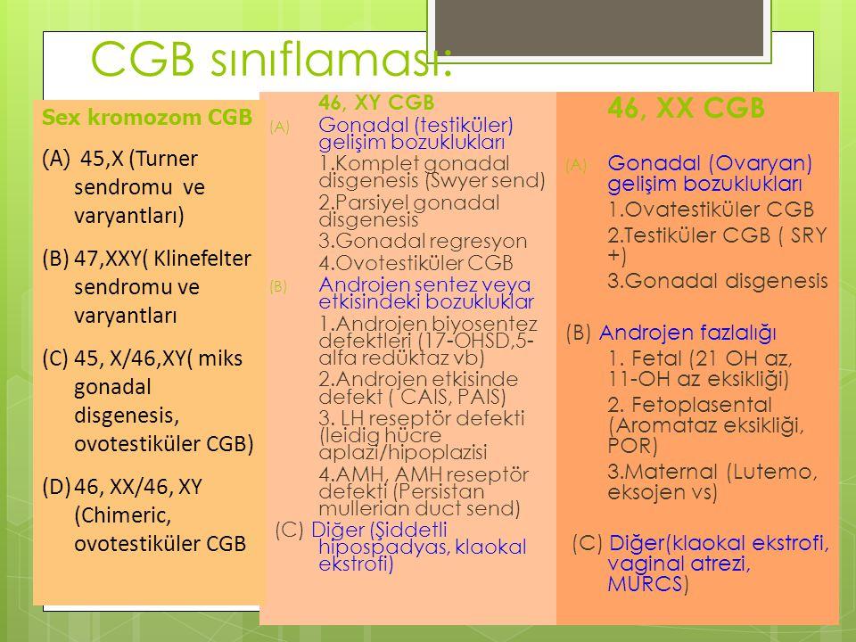 46, XY CGB (A) Gonadal (testiküler) gelişim bozuklukları 1.Komplet gonadal disgenesis (Swyer send) 2.Parsiyel gonadal disgenesis 3.Gonadal regresyon 4.Ovotestiküler CGB (B) Androjen sentez veya etkisindeki bozukluklar 1.Androjen biyosentez defektleri (17-OHSD,5- alfa redüktaz vb) 2.Androjen etkisinde defekt ( CAIS, PAIS) 3.